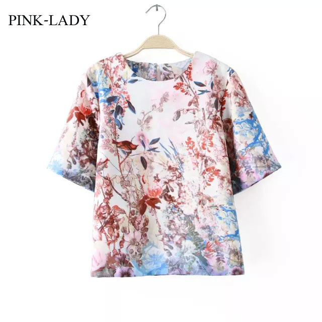 Summer Fashion Floral T shirts Womens Flower Printed Loose Chiffon ...