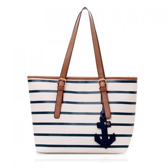 bag stripes sea leather white fashion straps classic stylish cool anchor tote bag