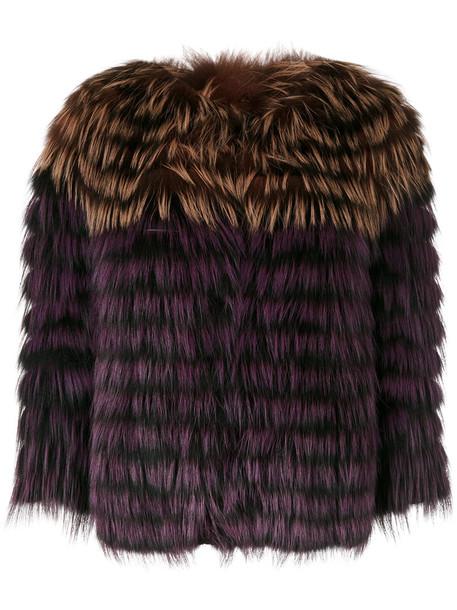 jacket fur fox women brown
