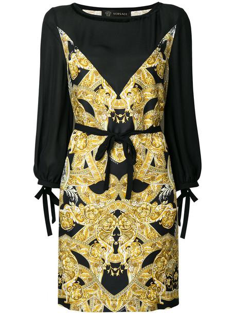 VERSACE dress print dress women print silk yellow orange