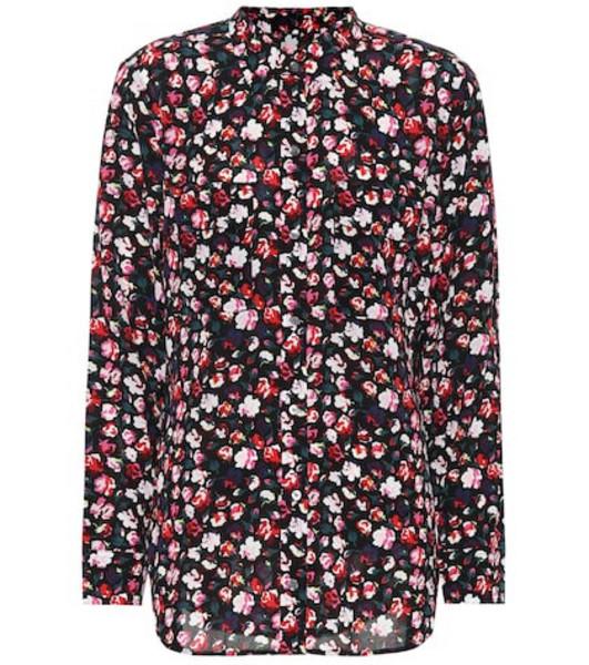 Equipment Floral crêpe shirt in black