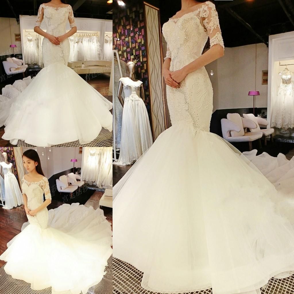Elegant Two Pieces Lace Arab Wedding Dress Sheath 2017: Elegant Plus Size Mermaid Wedding Dresses 1/2 Long Sleeves