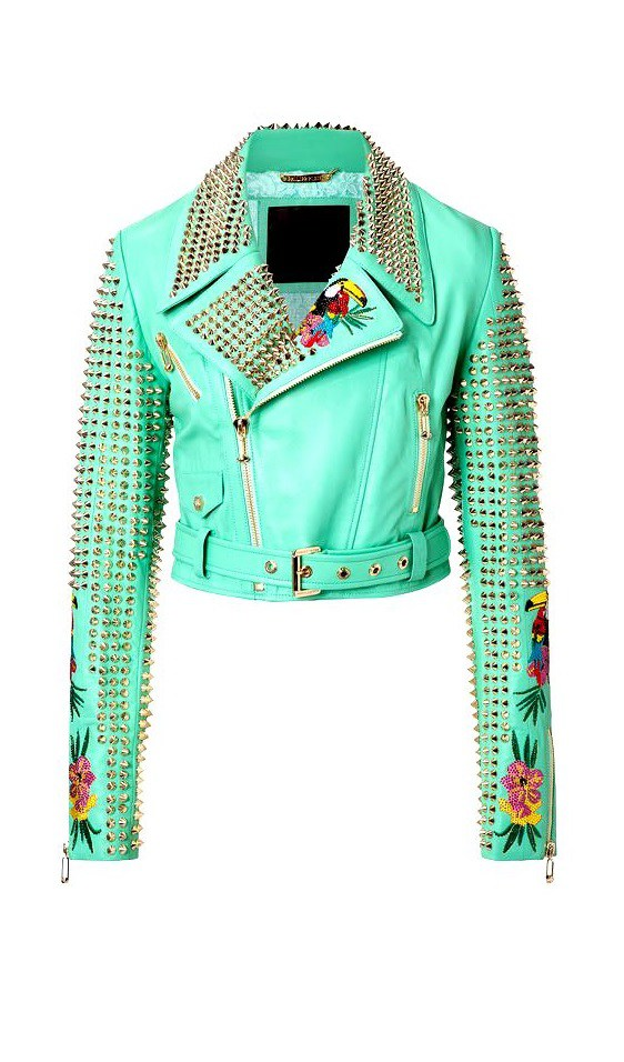 a81d812310d Philipp Plein Red Studded 'Parrot' Women's Leather Jacket