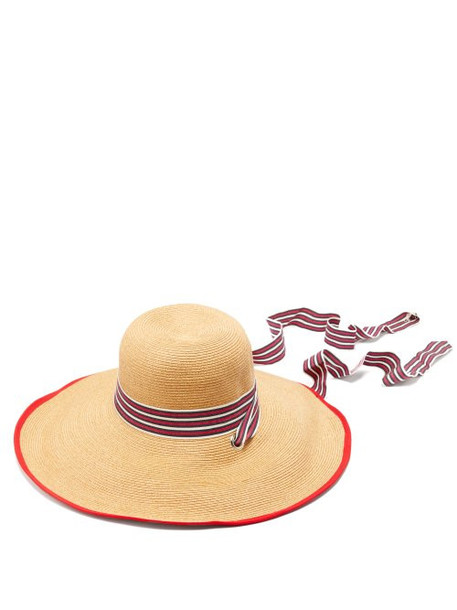 Filù Hats - Arenal Wide Brimmed Straw Hat - Womens - Red White
