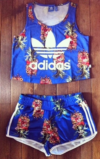 b338b4110fa shorts, shirt, adidas, blue, floral, two-piece, blue crop top, t ...