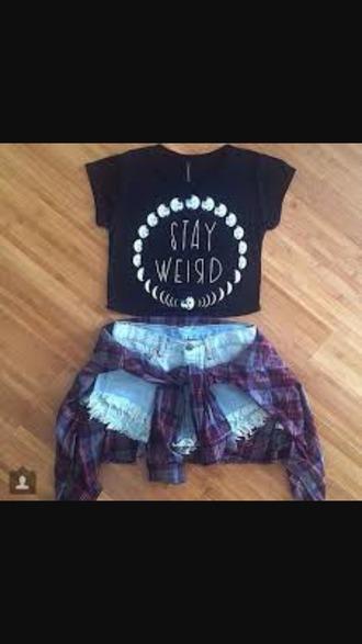 shirt black shirt moon shirt stay weird cx