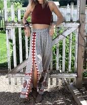 skirt,maxi skirt,slit skirt,boho,patterned skirt