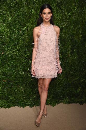 dress mini dress cocktail dress sara sampaio model dusty pink