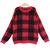 Red Long Sleeve Plaid Mohair Knit Sweater - Sheinside.com