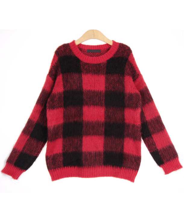 Red Long Sleeve Plaid Mohair Knit Sweater - Sheinside.com