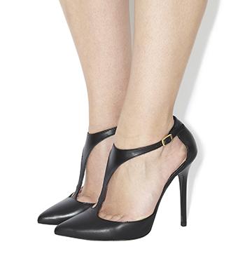 T Bar Platform Shoes Black