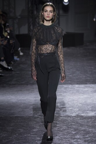 blouse all black everything pants see through lace nina ricci paris fashion week 2016 fashion week 2016