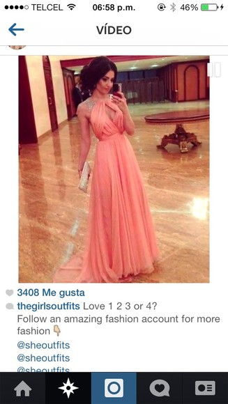 dress blouse long dress long prom dress prom pink beautiful charcoal coral long