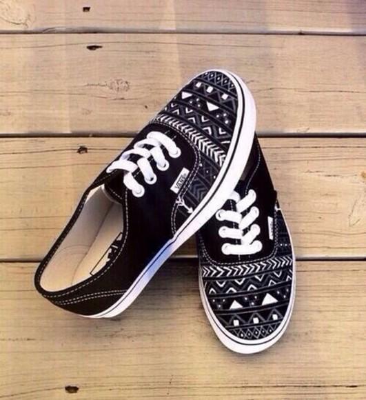 black vans shoes aztec vans