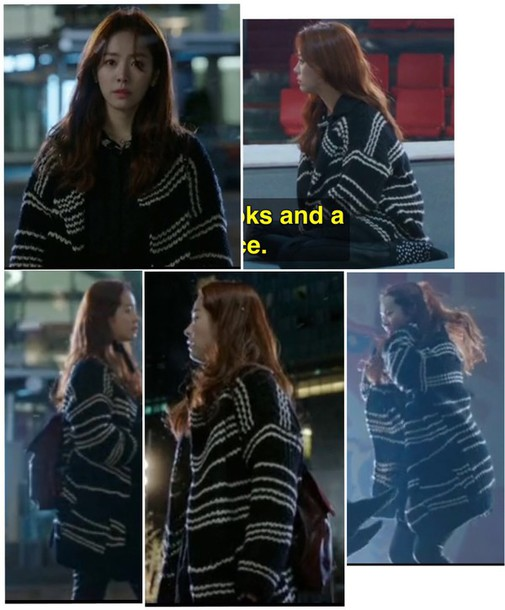 cardigan sweater coat black and white kdrama kpop jacket knitting sweater kpop jacket