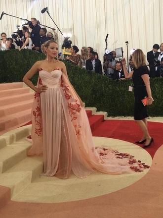 dress strapless long dress pink dress floral floral dress blake lively