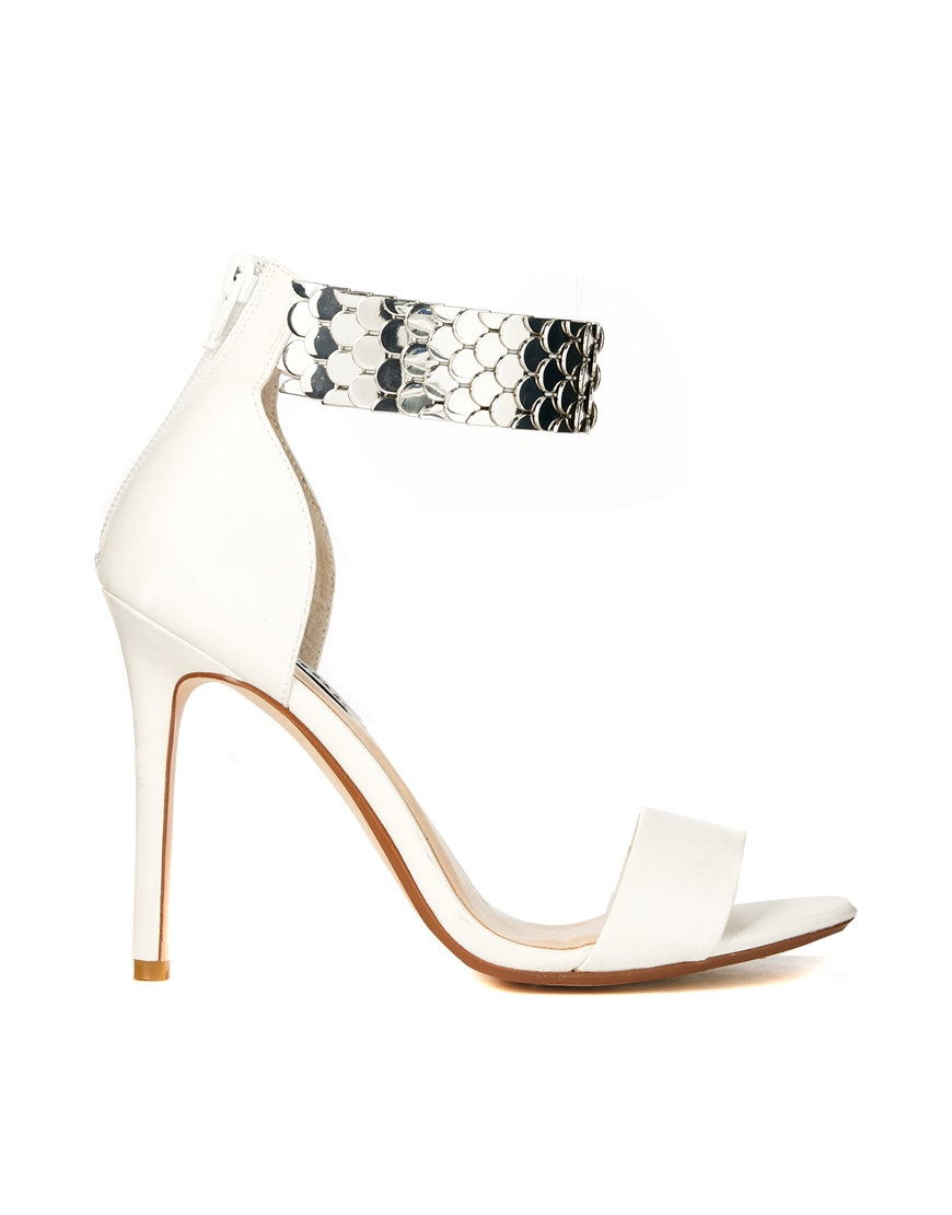 Dune huffy silver strap white heeled sandals at asos.com