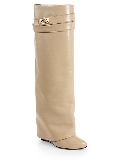 Givenchy - Leather Knee-High Sheath Boots - Saks.com