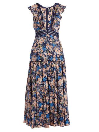 dress ruffle floral cotton print blue