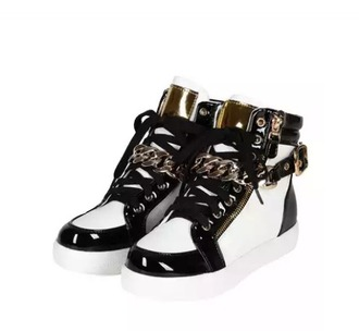 shoes black white sneakers chain gold