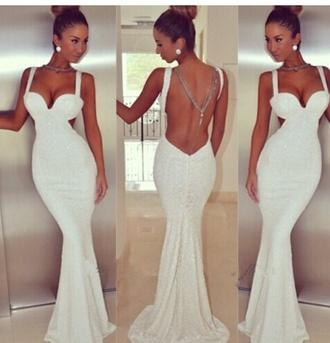 dress gowm white sequin dress