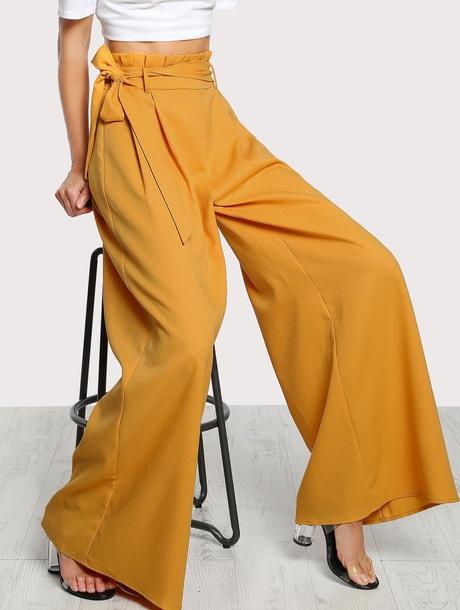 pants girly wide-leg pants yellow high waisted