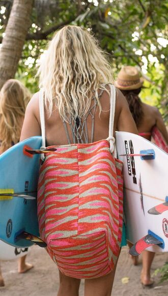 bag print pink back surf style beach backpack ikat surf beach bag summer summer holidays summer sports