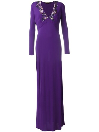 gown embellished purple pink dress