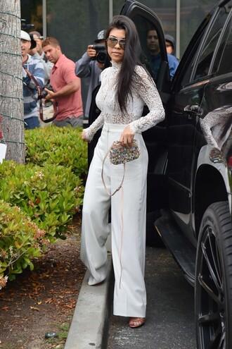 white lace white lace top lace top kourtney kardashian wide-leg pants purse