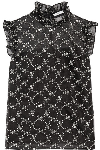 top embroidered ruffle black silk