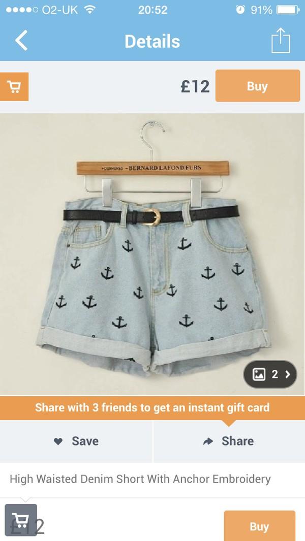shorts blue anchor deniem