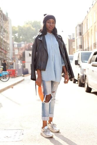 jeans leather jacket grey beanie light blue shirt distressed denim jeans white sneakers orange purse blogger