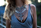jewels,necklace,boho,hipster,festival,silver,silver necklace,blogger,underwear,statement necklace,tank top,bralette,jewelry