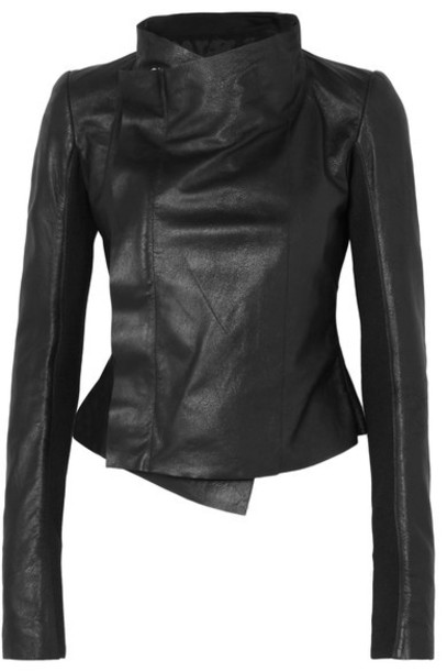 Rick Owens jacket biker jacket leather black wool