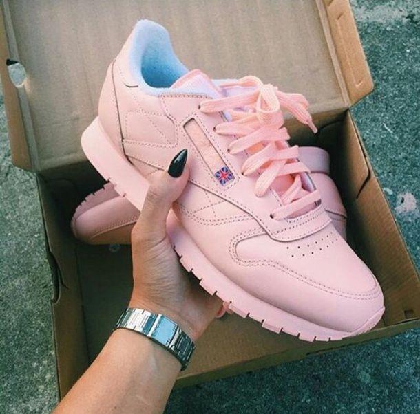98f6fdde768b7 shoes urban pastel pink Reebok pastel sneakers urban pink sneakers light  pink reebok classics pink sneakers