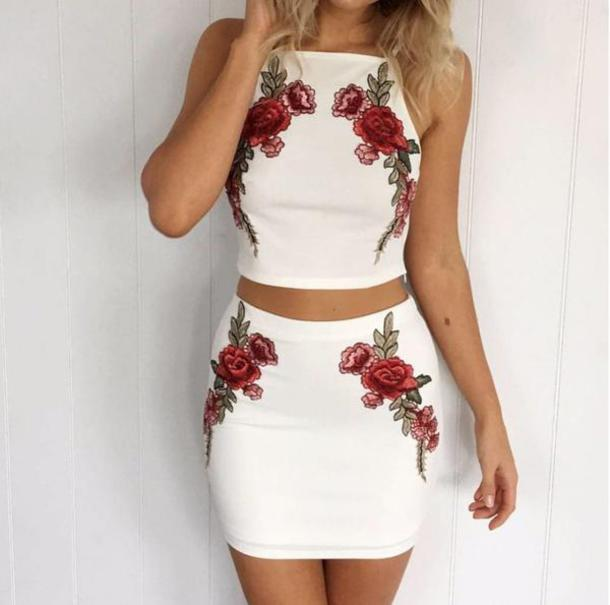 dress floral white girly fashion style cute spring summer skirt two piece dress set embroidered crop tops beautifulhalo