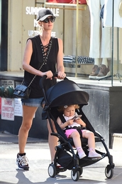 top,nicky hilton,shorts,sunglasses,sneakers,stroller,summer,summer outfits,bag