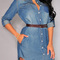 Button closure denim blue shirt dress
