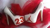 shoes,red,white,high heels,jordans,air jordan,stilettos,jordan,heels,michael jordan