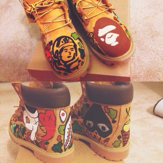 shoes timberlands artsy colorful swag