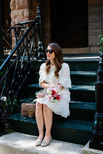 dress tumblr midi dress white dress lace dress white lace dress bell sleeves sunglasses bag flats