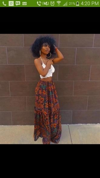 skirt tribal pattern floral maxi skirt african print cute long long skirt flowered skirt top shoes white top half shirt shirt