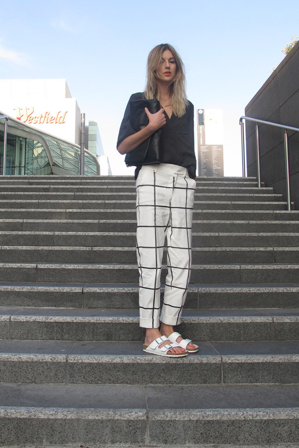 5df1c25eacc7db camille over the rainbow pants t-shirt shoes jewels checkered hipster  birkenstocks minimalist.