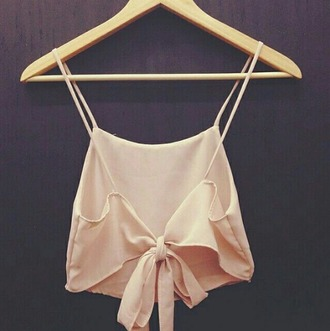 tank top light pink strappy ties in the back crop tops