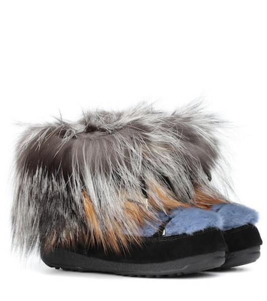 Yves Salomon x Moon Boot® mink fur ankle boots