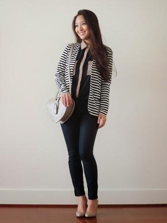 heart stripes blogger blouse bag jacket sensible stylista
