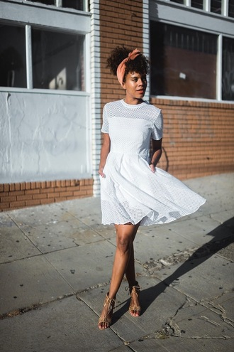 dress headband tumblr mini dress white dress short sleeve dress sandals sandal heels high heel sandals hair accessory
