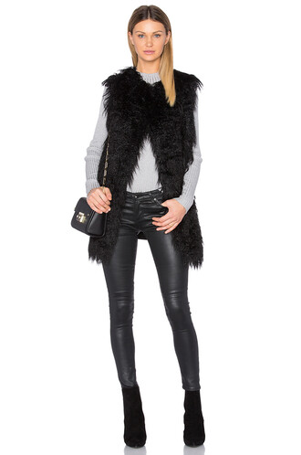 vest fur faux fur black jacket