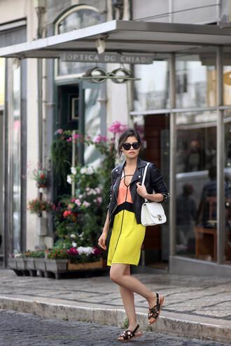 fake leather blogger dress jacket bag