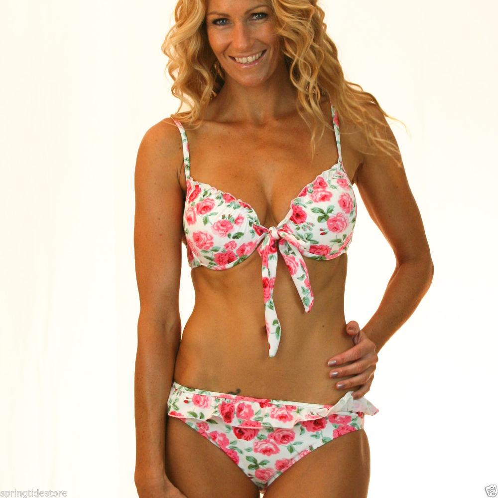 ♥ Vintage Floral Bikini Separates ♥ Sexy Push UP Padded BRA Sizes 8 10 12 14 16 | eBay
